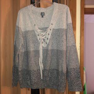 NY&CO lace up sweater- XXL